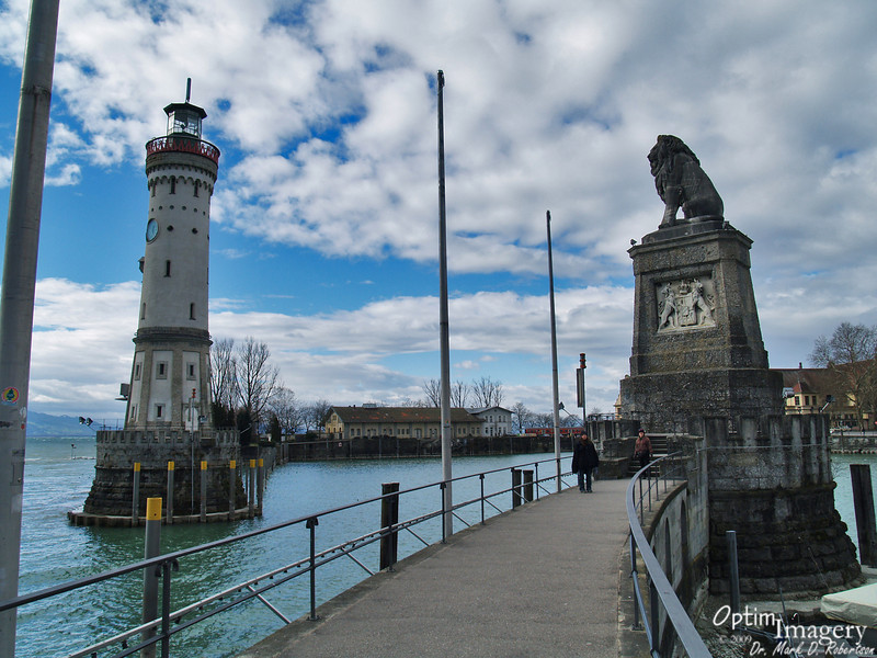 "The Lion Tower and the ""new"" Lighthouse (completed in 1856) guard the opening to the Harbor."