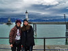 Bev and bri in front of te Lindau Harbor, completed in 1856 and providing safe moorage for boats entering from Lake Constance (also called the Bodensee).