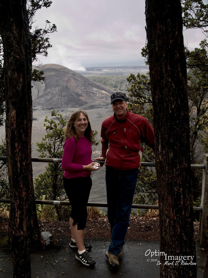Bev and Bernie on the rim of Kilauea Iki crater (west of the main caldera).