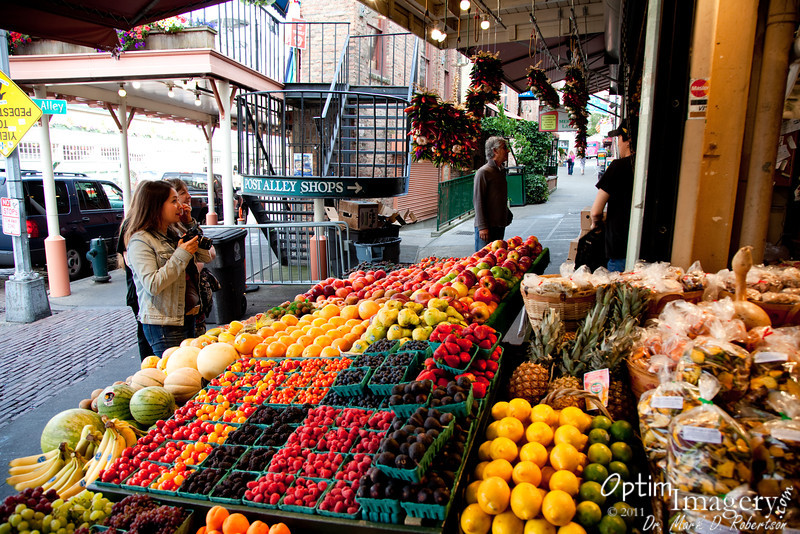 Fish, meat, flowers, and wonderful fresh fruit are just some of the offerings in and around Pike Market.