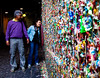 In most cities, if people started sticking their gum on a wall lining a public walkway, city crews would clean up the mess.  In Seattle, they have made a bona-fide tourist attraction out of it.