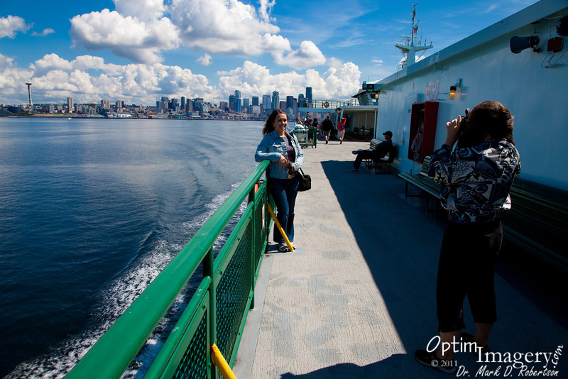 Seattle and the Space Needle get smaller behind us as we cast out into Elliot Bay.