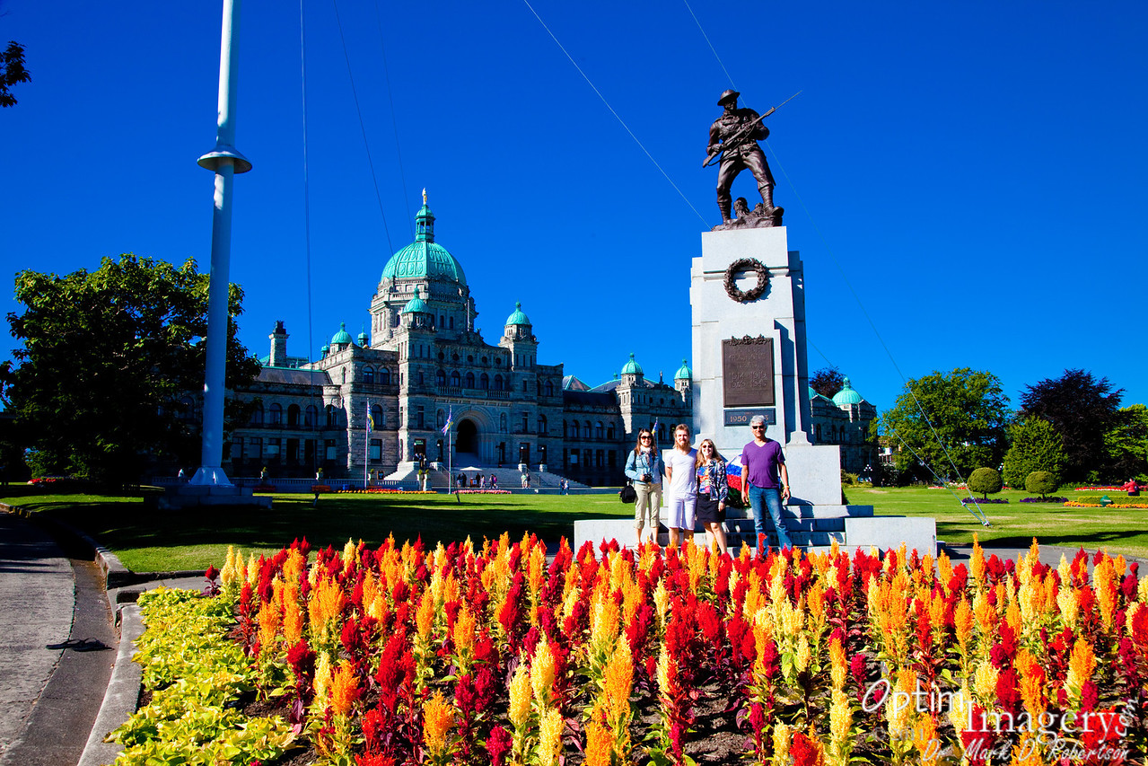 British Columbia Parliament Buildings, finished in 1893.   The statue commemorates Canadian war dead.