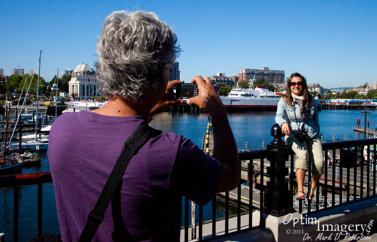 Looking over Victoria Inner Harbor.  You see the ferry (M.V. Coho) behind Olga.