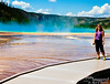 You can see where Grand Prismatic Spring deepens behind Bev.  This is the largest hot spring in the United States, and the third largest in the world (apparently New Zealand has a couple which are larger).