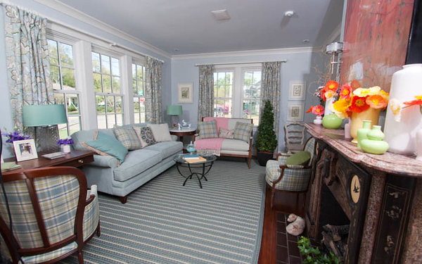 The front formal living room was decorated by design professionals from Better Homes and Gardens.