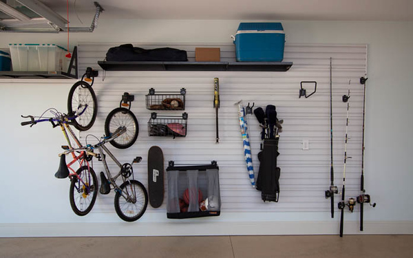 The garage addition included an organization wall for easy storage and to save space.