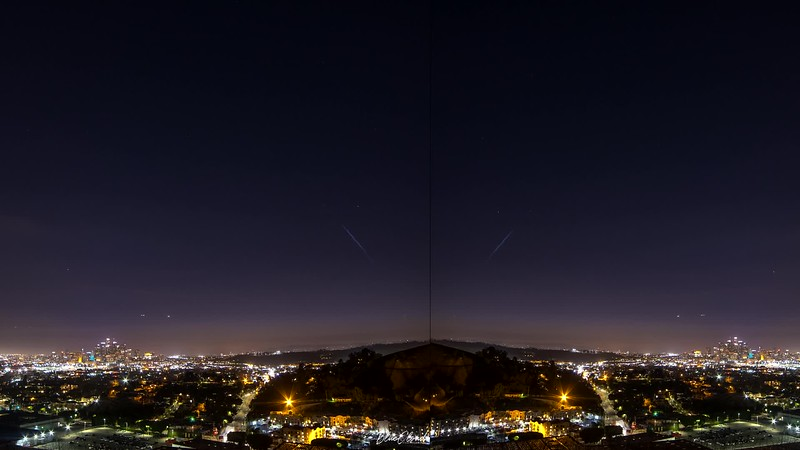 Space X falcon rocket launch over los angeles