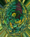 Sunflowers in Oval Abstract