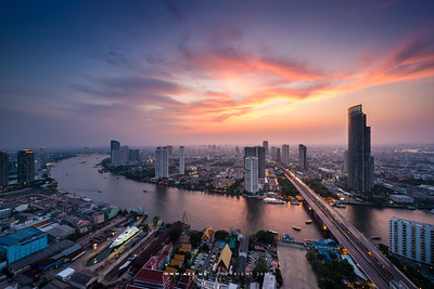 Sunset at the Sathorn Unique Tower, Bangkok