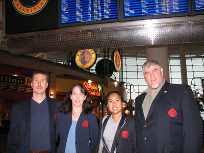 Master Henkel, Nancy Henkel, Jeanie Ahn and Fred Antrobus at the Seatac Airport leaving for Seoul