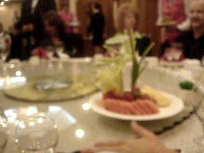 First course of dinner hosted by the VP of Yanbian University. That is a dragon made from watermelon.