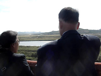 Looking at North Korea and Russia from the observation tower in China