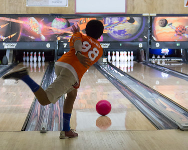 November 8, 2015 - Bowling - Stephen delivers a hopeful strike!