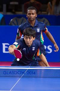 Team play in Table Tennis, Glasgow.