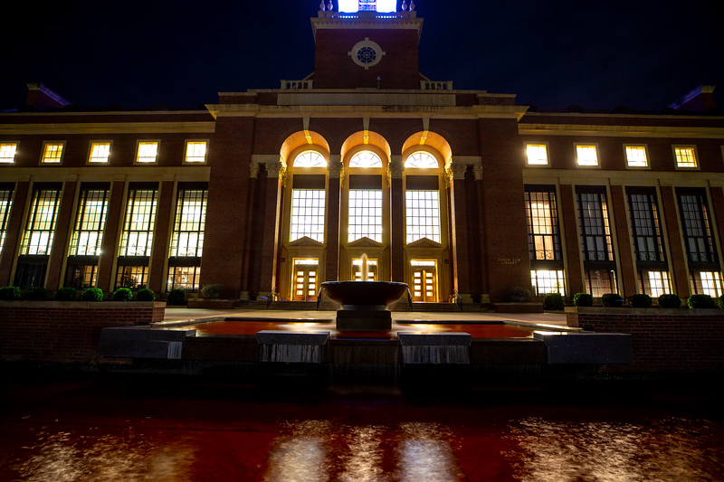 Edmond Low Library Fountain died orange for OSU Homecoming 2018.