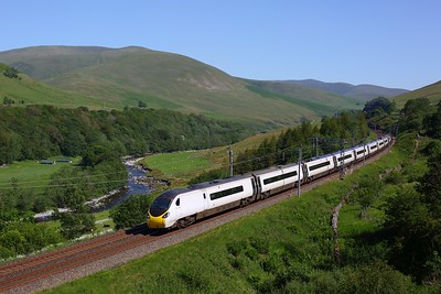 390044 working the 1S69 1310 London Euston to Glasgow Central in the Lune Gorge on 25 June 2020  Avanti, Class390, WCML
