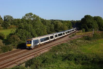 168111 leading 168321 on 1R41 1443 London Marylebone to Birmingham Moor Street at Hatton North junction on 13 September 2020  Class168, Chiltern