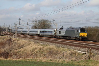 67013 leads AL01+82301 on the 1I28 1003 Birmingham Moor Street to Wembley football special via the WCML at Chelmscote on the 26th February 2012   Chiltern line was closed between Banbury and Bicester