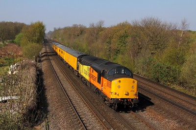 37116+37025 on the 1Q79 Tonbridge to Derby RTC going to Sevington at Swanley on the 8th April 2017
