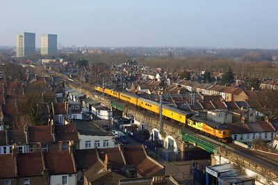 37099 leading 37175 working 1Q18 Ferme Park to Ripple Lane at Wanstead Park on 2 March 2021  Class37, ColasRail, Goblin, TestTrain