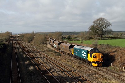 37025 working 4B20 0910 Barry to Barry via Briton Ferry and Swindon East loop over the Bishton Flyover on the 28th January 2016  Class37, SouthWalesML, Colas