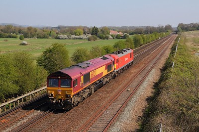 66023+92016 on the 0Z27 1310 Dollands Moor to Wembley at Otford junction on the 8th April 2017