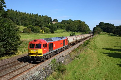 60059 on the diverted 6M57 Lindsey to Kingsbury at Chevin on the 23rd August 2019
