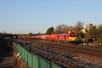 60074 on the 6B13 Robeston to Westerleigh at Magor on the 3rd January 2016