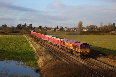 66147 on 6G06 1418 Peak Forest Cemex Sdgs to Dallam Freight Depot at Ashley on the 6th March 2020