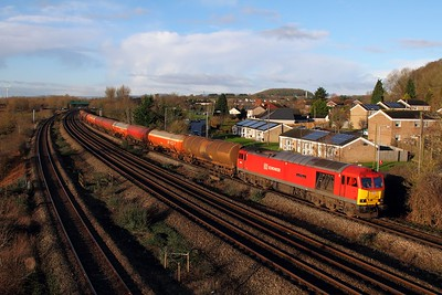 60019 on the 6B13 Robeston to Westerleigh loaded murco bogie tanks at Undy on the 15th January 2016