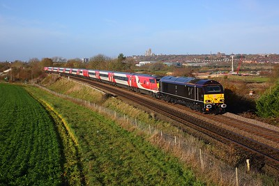 67005+91129 on the 1A15 0815 Leeds to London Kings Cross at Washingborough, Lincoln on the 10th November 2018