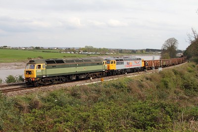 47812 leading 56312 on 6Z56 Cardiff Tidal to Stockton at Thornwell, Chepstow on 14 April 2012  Class47, DCR, LydneyLine