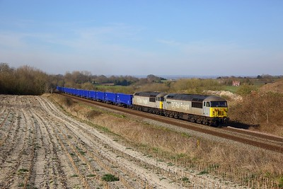 56091 leads 56103 on the 6Z91 Westbury to Southampton at Dilton Marsh on the 23rd March 2020