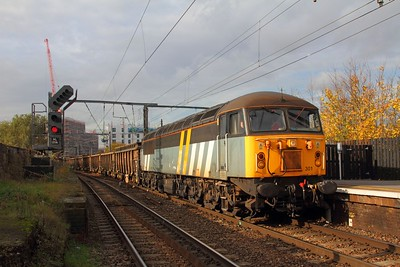 56301 in the remnants of Fastline livery works the 6L74 Willesden to Barrington at Camden Road on the 16th November 2017