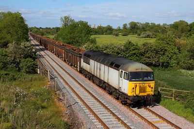 56103 on the 6Z34 1145 Darlington to Cardiff Tidal loaded scrap at Claymills on the 31st May 2015 - 56103 failed yesterday with an AWS fault working from Stockton to Chaddesdon