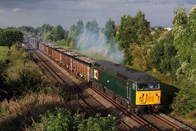 56303 hauling 6Z56 Shipley to Cardiff Tidal scrap train departing Branston loop, Burton on the 28th August 2012  Class56, DCR, DerbyBirminghamline