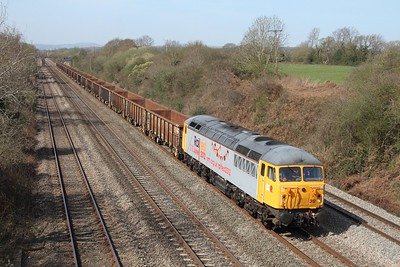 56312 working 6Z56 Cardiff to Shipley empty scrap wagons at Llandevenny on 29 March 2012  Class56, DCR, SouthWalesMainline