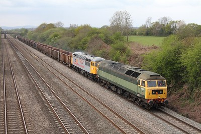 47812 leading 56312 on 6Z56 Cardiff Tidal to Stockton at Llandevenny on 14 April 2012  Class47, SouthWalesMainline, DCR