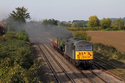 56312+60163 on the 5Z63 York NRM to Bishops Lydeard at Ashchurch on the 29th September 2015