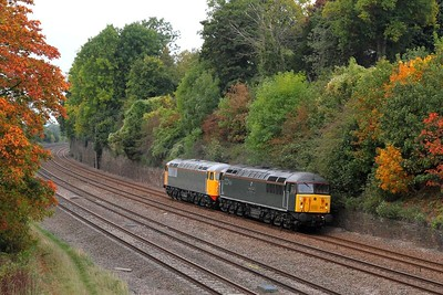 56312+56081 on the 0Z35 Butterley to Leicester at Barrow upon Trent on the 29th September 2014