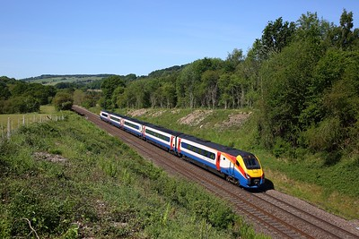EMR Intercity 222022 working the 1F15 0902 St Pancras International to Sheffield approaches Wingfield Tunnel, Sawmills on the MML 29 May 2020