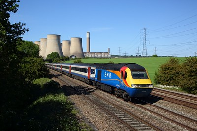 EMR 43043 leads 43089 on 1B53 1445 Nottingham to St Pancras International at Ratcliffe on the MML on 29 May 2020