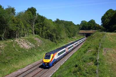 EMR Intercity 222003 works the 1C45 1229 Sheffield to St Pancras International out of Wingfield tunnel, Sawmills on the MML on 29 May 2020
