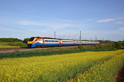 EMR 222001 works the 1D90 1719 St Pancras International to Derby at Childwickbury near Harpenden on the 18 May 2020