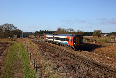 158865 on the 1L03 0707 Mansfield Woodhouse to Norwich at Kilverstone, Thetford on the 12th February 2020
