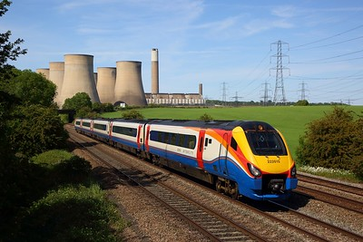 EMR InterCity 222015 working the 1C57 1500 Sheffield to St Pancras International at Ratcliffe on MML on 25 May 2020