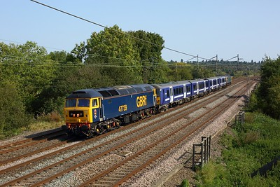 47739 leading 360113 and 47727 on 5Q60 Ilford to Northampton at Chelmscote on 20 September 2020