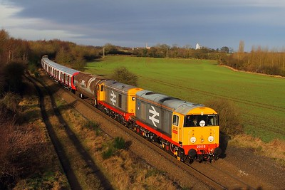 20118+20132 tnt 20096+20107 on the 7X23 Derby Litchurch Lane to Old Dalby at Bagworth on the 9th January 2015