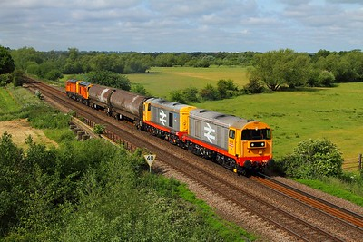 20132+20118 tnt 20311+314 on the 6M24 Derby to Old Dalby at Syston bypass on the 15th June 2015